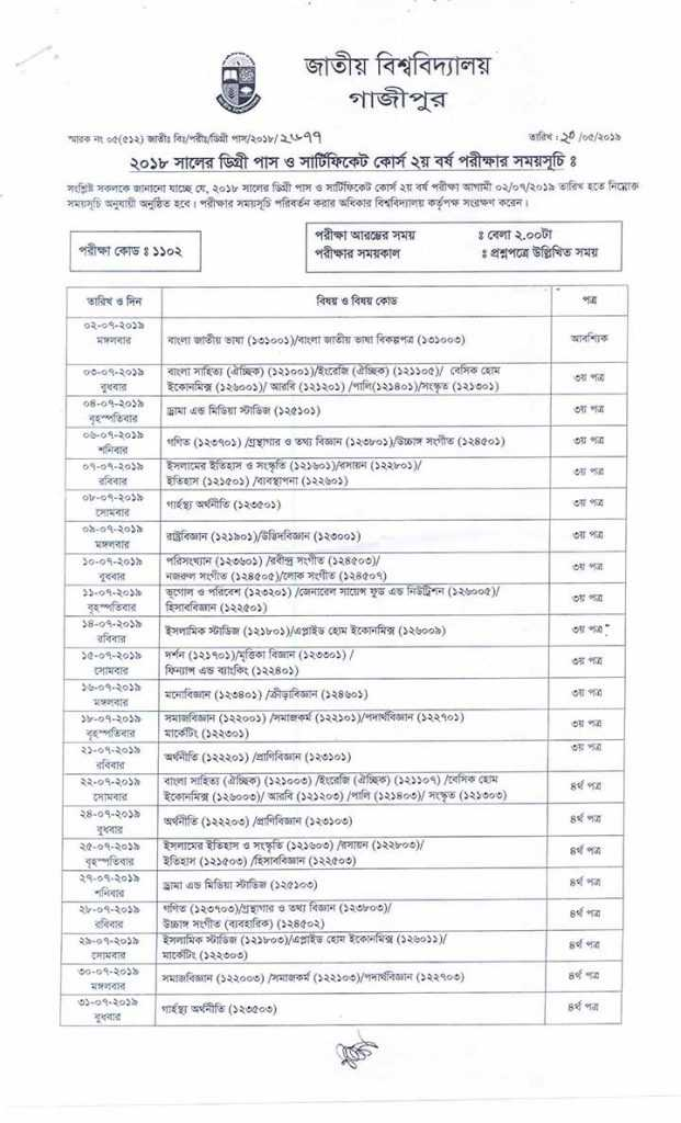 Degree 2nd year routine 2019 National University